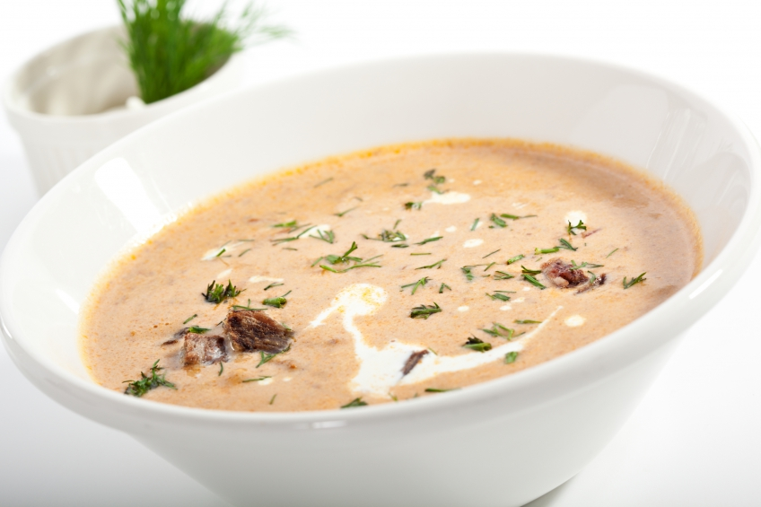 Cream of vegetables and beef soup